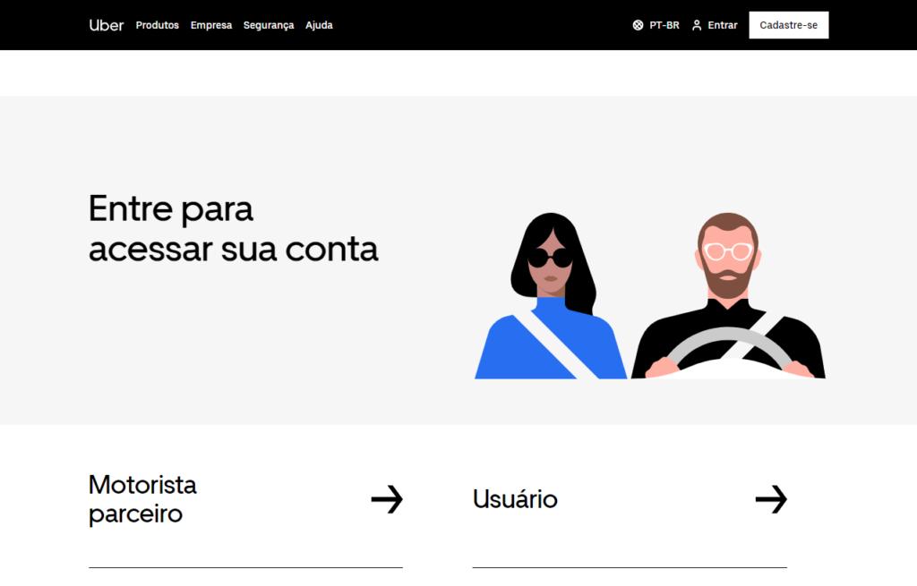 Acessando o site da Uber