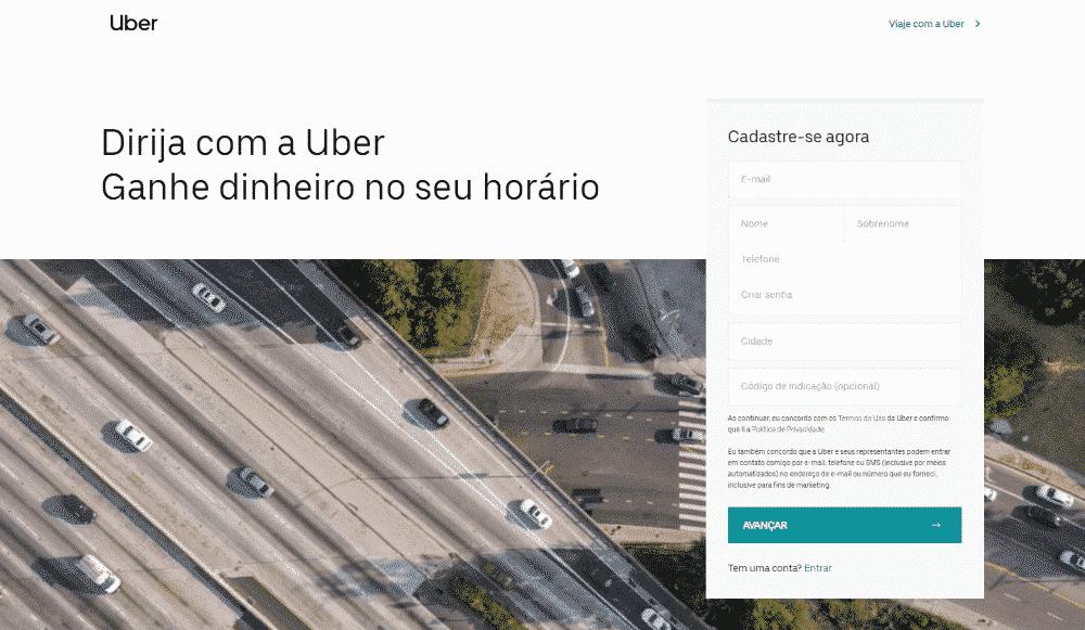 Cadastro de Motorista na Uber