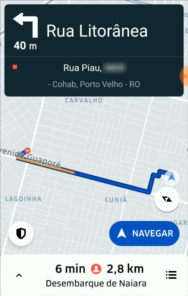 Primeira Viagem Uber - Destino do Passageiro